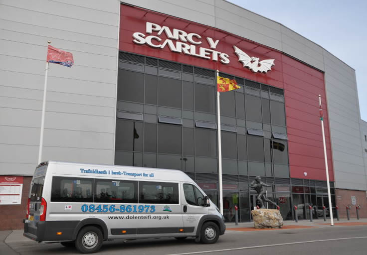 Transport for All but outside the scarlets