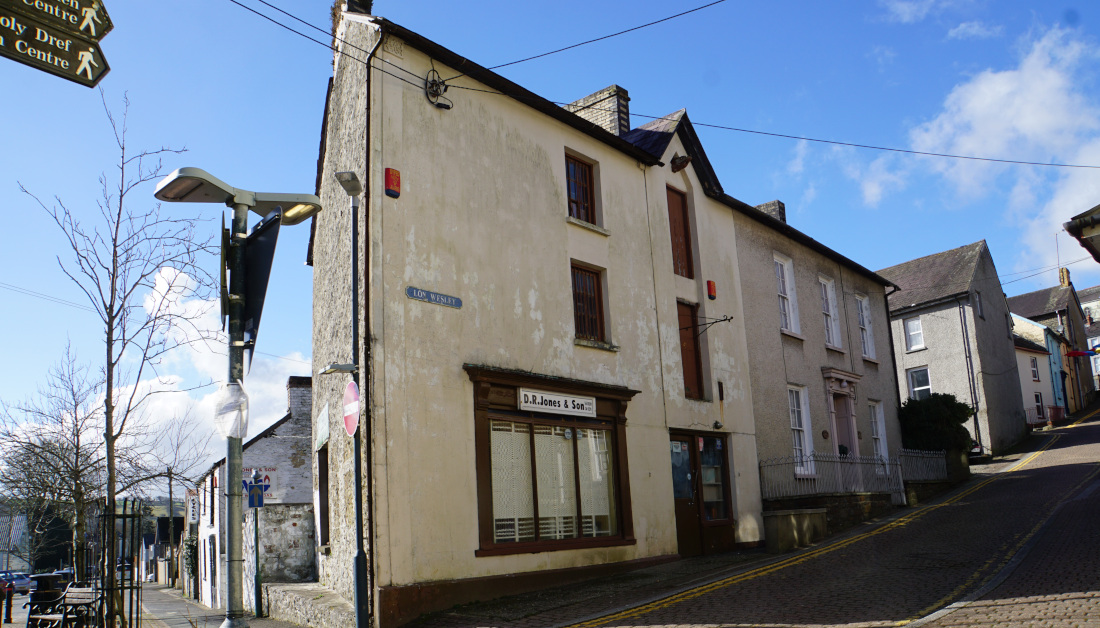 The bottom of Lon Wesley Llandysul and DR Jones shop which has closed.Ceredigion.